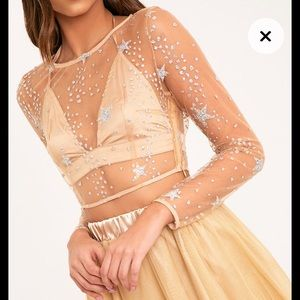 NEW W/ TAGS PrettyLittleThing Nude Mesh Star top